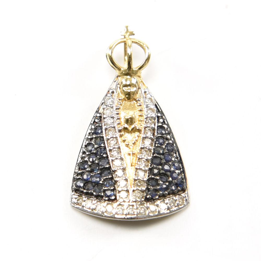 9cceb566fe880 Loja Oficial Santuário Nacional Pingente N S Aparecida Diamante Ouro ...