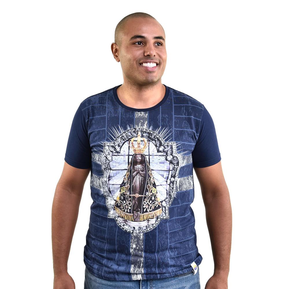a378fe524 Camiseta Masculina Azul Nossa Senhora Aparecida