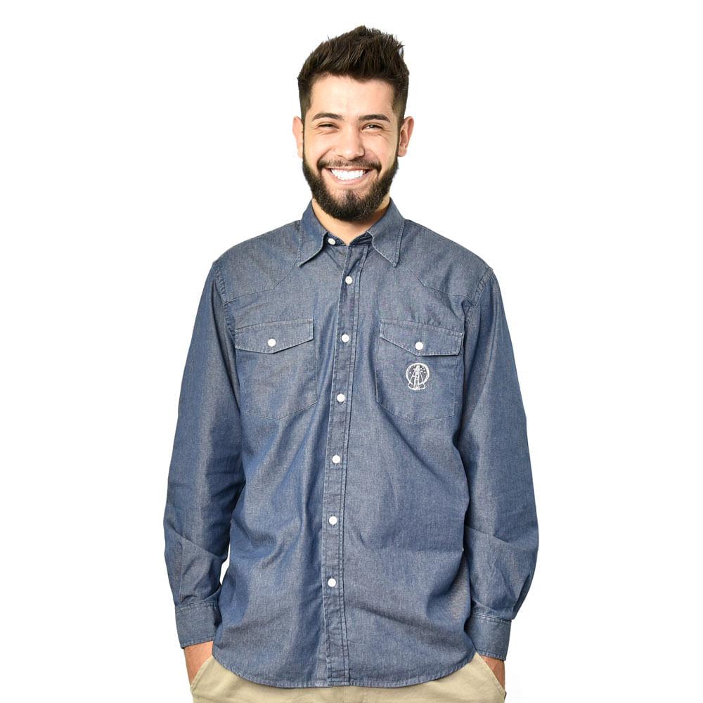 8b3a6e87004b7 Camisa Masculina Centenário Jeans Escura Loja Oficial Santuário Nacional -  santuarionacional