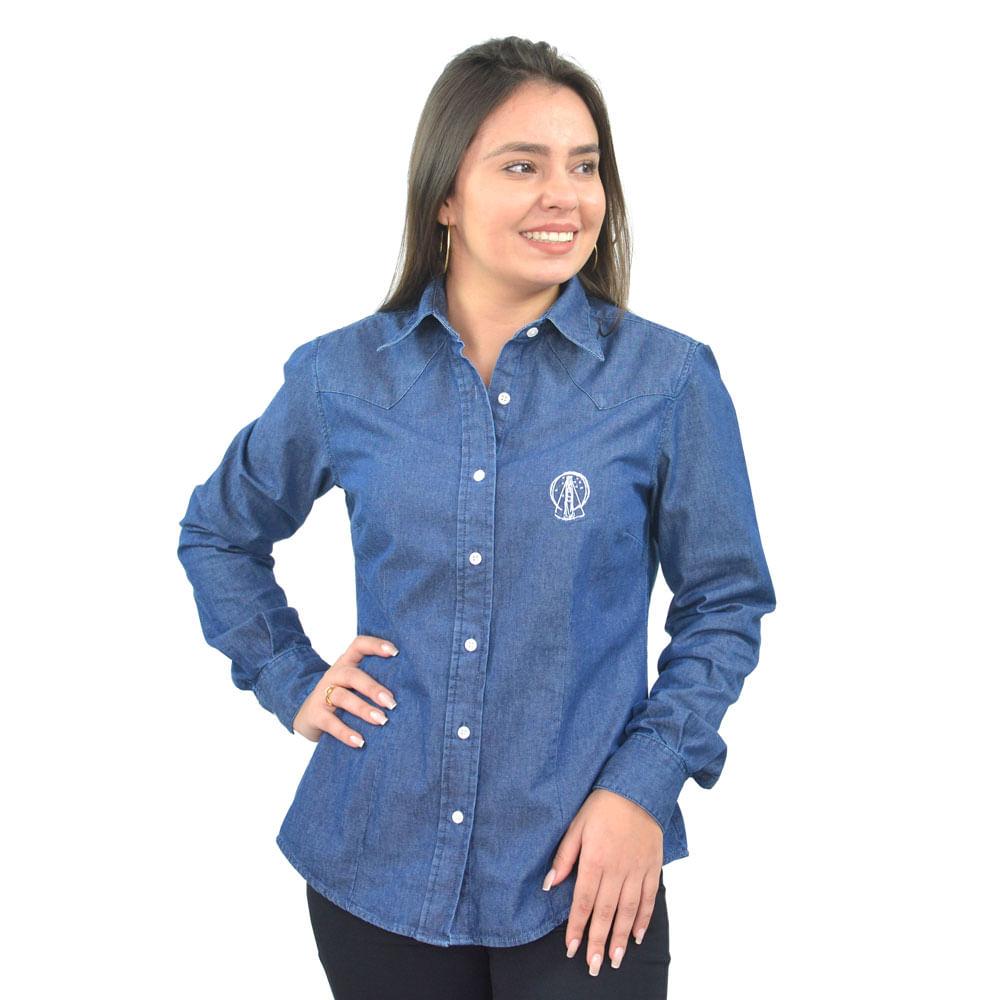 f527fe9799 Camisa Feminina Centenário Jeans Escura Loja Oficial Santuário Nacional -  santuarionacional
